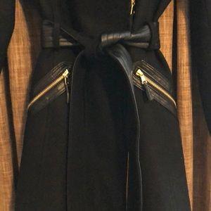 Via Spiga Jackets & Coats - Via Spiga Faux-Fur-Collar Asymmetrical Belted Coat